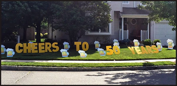 this happy birthday new jersey yard greeting rental sign is great for adults includes the 2 letters beer mugs and the age as with any yard greeting